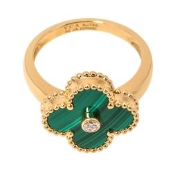 Van Cleef & Arpels Vintage Alhambra Diamond Malachite 18K Yellow Gold Ring 52