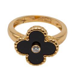 Van Cleef & Arpels Vintage Alhambra Onyx Rose Gold Diamond Ring Size 53