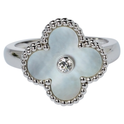 Van Cleef & Arpels Vintage Alhambra Mother of Pearl Diamond 18K White Gold Ring Size 53