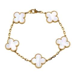 Van Cleef & Arpels Vintage Alhambra Mother of Pearl 18K Yellow Gold 5 Motif Bracelet