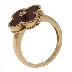 Van Cleef & Arpels Vintage Alhambra Red Carnelian Yellow Gold Ring Size 52