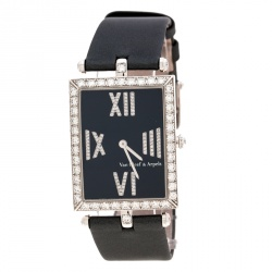 0d0106c788486 Van Cleef   Arpels Black 18K White Gold and Diamonds Classique Rectangular  Women s Wristwatch ...