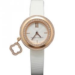 ساعة يد نسائية فان كليف & آربيلز شارمز VCARO29800 ذهب وردي عيار 18 بيضاء 25 مم