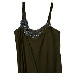 Vera Wang Silk Olive Green Dress L