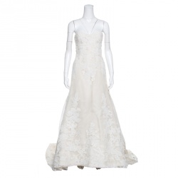 638ee4adc17 Vera Wang Luxe Cream Floral Lace Applique Embellished High Low Wedding Gown  M