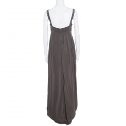Vera Wang Grey and Cream Silk Lace Trimmed Sleeveless Evening Gown M