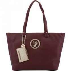 Versace Jeans Dark Red Faux Pebbled Leather Shopper Tote