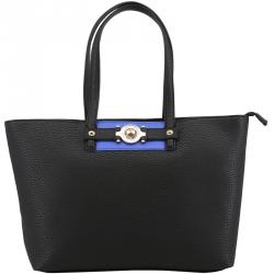 Versace Jeans Black Faux Pebbled Leather Shopper Tote