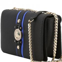 Versace Jeans Black Pebbled Leather Chain Flap Bag b813602f4023f