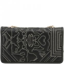 Versace Jeans Black Faux Embossed Leather Chain Clutch Bag 0d4bc84a0c807