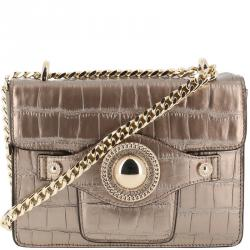 Versace Jeans Metallic Brown Croc Embosed Faux Leather Chain Crossbody Bag 2a5a1c4190fab