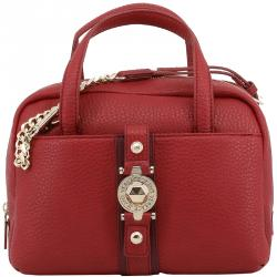 477f064beb0 Versace Jeans Red Pebbled Faux Leather Satchel Bag