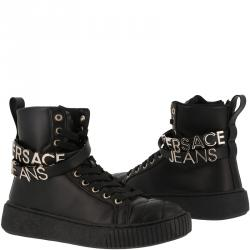 Versace Jeans Black Leather High Top Sneakers Size 36