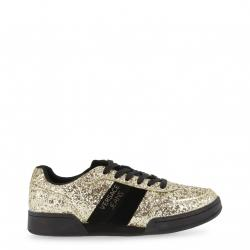 Versace Jeans Two Tone Glitter and Leather Lace Up Sneakers Size 40