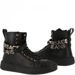 Versace Jeans Black Leather High Top Sneakers Size 40