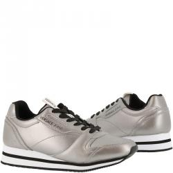 Versace Jeans Silver Faux Leather Lace Up Sneakers Size 38
