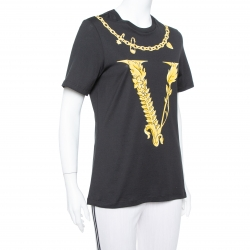 Versace Black Virtus Motif Printed Cotton Crewneck T-Shirt M