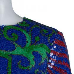 Versace Multicolor Sequin Embellished Short Sleeve Top M