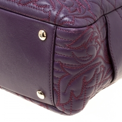 Versace Purple Leather Demetra Vanitas Top Handle Bag
