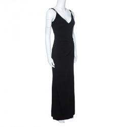 Versace Collection Black Logo Strap Slit Detail Draped Maxi Dress S