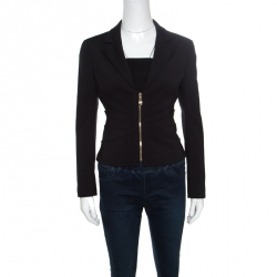 9b4680cad0 Versace Collection Black Pleat Front Zip Detail Cropped Blazer M