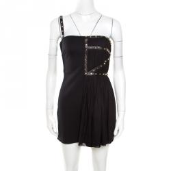 8aeca249695 Versace Black Jersey Plisse Overlay Studded One Shoulder Mini Dress S