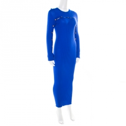 Versace Cobalt Blue Ribbed Wool Knit Medusa Fitted Midi Dress L