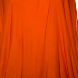Versace Orange Jersey Draped Halter Neck Top M
