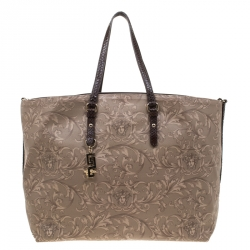 da77430a61 Versace Beige/Brown Barocco Heritage Coated Canvas and Snakeskin Trim  Shopper Tote