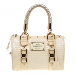 1c9c347cc0 Versace Off White Quilted patent Leather Small Snap Out Of It Satchel