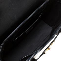Versace Black Leather Small Medusa Medallion Tote