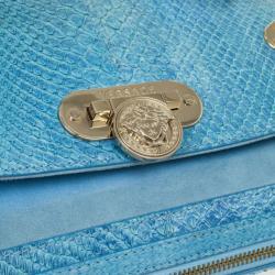 Versace Light Blue Python & Suede Satchel
