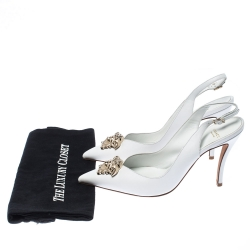 Versace White Leather Palazzo Medusa Slingback Pointed Toe Sandals Size 39