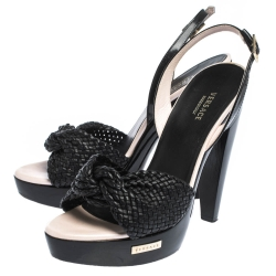 Versace Black Woven Knot Leather And Patent Slingback Platform Sandals Size 36
