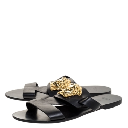 Versace Black Leather Medusa Detail Flats Slides Size 39
