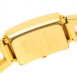 Versace Black 18K Yellow Gold Plated Stainless Steel Signature Medusa Women's Wristwatch 25 mm