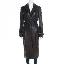 df3c3220 Versus Versace Black Leather Belted Back Detail Overcoat S