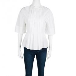 Victoria Beckham White Cotton Pleat Detail Peplum Top S