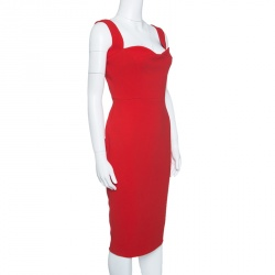 Victoria Beckham Red Crepe Sleeveless Fitted Dress M