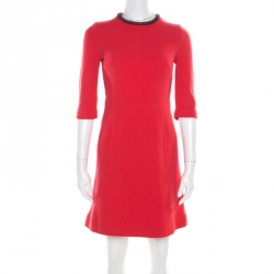 Victoria Victoria Beckham Coral Red Crepe Wool Contrast Neck Sheath Dress S