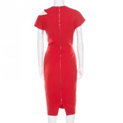 Victoria Beckham Red Wool and Silk Cutout Shoulder Detail Sleeveless Dress M
