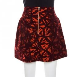 Victoria Beckham Orange and Burgundy Velvet Burnout Mini Skirt M