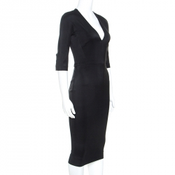 Victoria Beckham Black Crepe Fitted V-neck Dress S