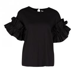 Victoria Victoria Beckham Black Cotton Ruffled Sleeve Top XS