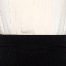 Victoria Victoria Beckham Bicolor Silk Pleated Detail Dress S