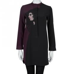Victoria Victoria Beckham Two Tone Printed Silk Long Sleeve Tunic S