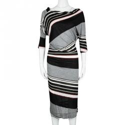 Vivienne Westwood Anglomania Striped Jersey Ruched Dolman Sleeve Midi Dress M