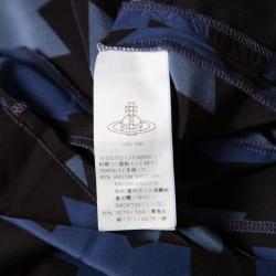 Vivienne Westwood Anglomania Blue and Black Printed Draped Asymmetric Dress M