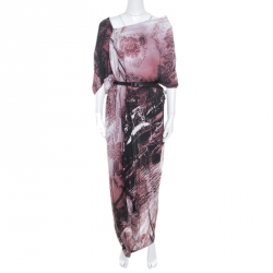 Vivienne Westwood Anglomania Multicolor Printed Draped Asymmetric Belted Dress M