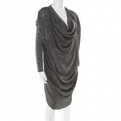 Vivienne Westwood Anglomania Metallic Grey Draped Sweater Dress M